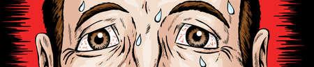 Cartoon van bang en nerveus ogen Stock Illustratie