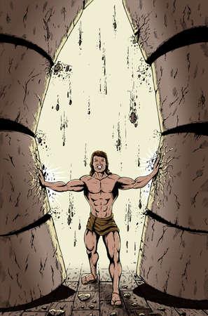 Bijbelse Samson naar beneden te duwen van de pijlers