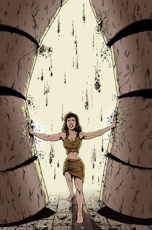 breast comic: Biblical Samson pushing down the pillars but as a woman