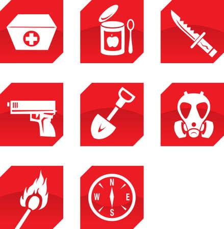 Overleven na de dood pictogrammen Stock Illustratie