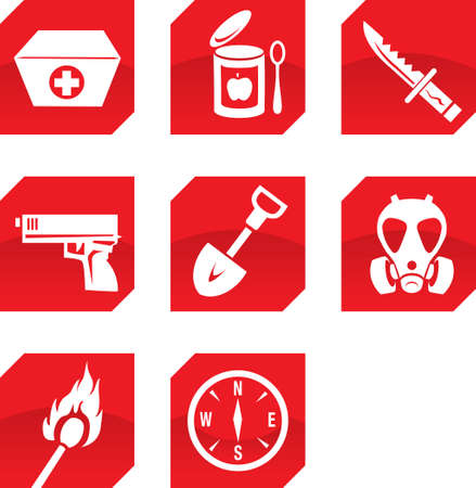 Survivalist icons Vector