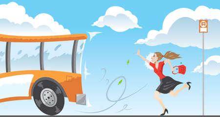 バスのために遅い  イラスト・ベクター素材