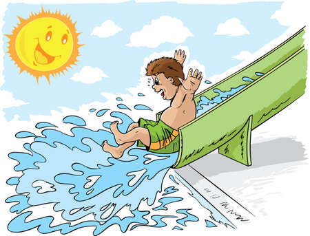 splash pool: Boy on waterslide Illustration