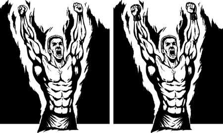 Zeichnen eines stolzen Meister, mit einer kämpferischen Handschuhe. Vektorgrafik