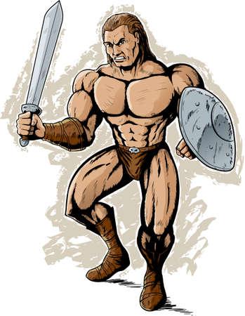 cartoon warrior: Angry Gladiator