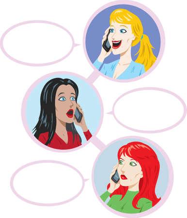 3 girls talking Stock Vector - 14125019