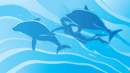 Swimming with the dolphins Illustration