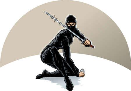 cartoon warrior: Ninja ragazza