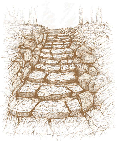 stone steps: Stone path Illustration