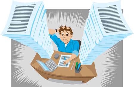 stapel papieren: Werknemer of student overstelpt met werk