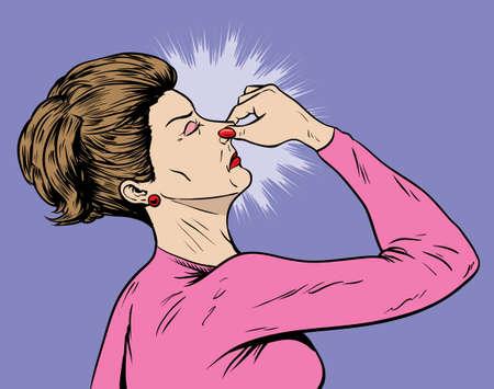 女性の悪臭を放つ  イラスト・ベクター素材