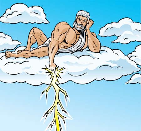 greek god: Zeus lightning Illustration