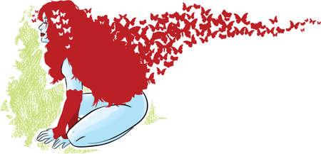 donna farfalla: Farfalla ragazza Vettoriali