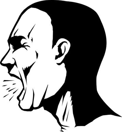 male face profile: Yelling man