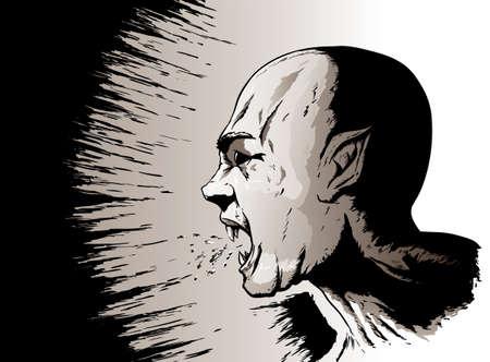 spitting: Yelling vampire Illustration