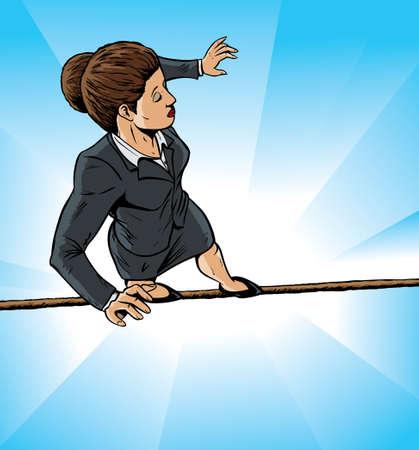 tightrope: Hoge draad zakelijke meisje Stock Illustratie