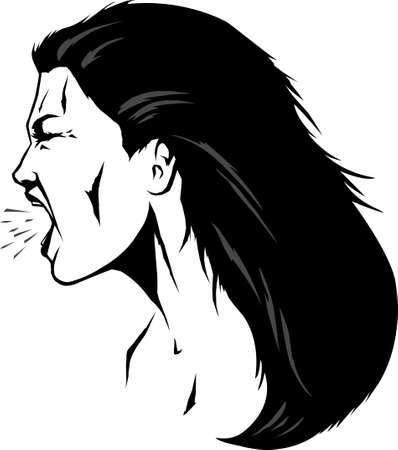 visage femme profil: Femme crier Illustration