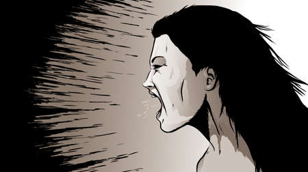 upset woman: Yelling woman Illustration