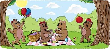oso caricatura: Oso de peluche de picnic