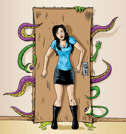 Monsters at the door  Illustration