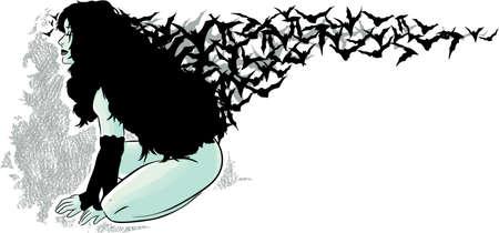 swarm: Flowing bats  Illustration