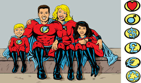 Super hero family Vector