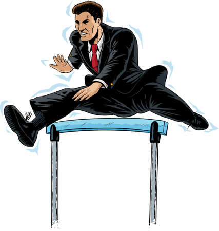 track and field: Jumping businessman Illustration