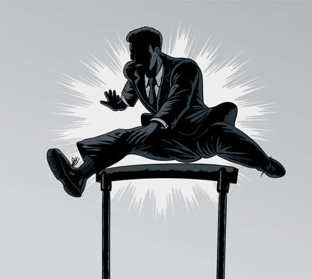 hurdling: Jumping businessman Illustration