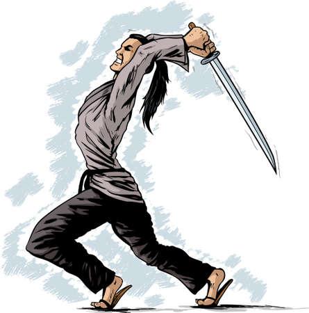 attacking: Atacar Samurai Vectores