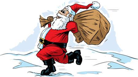 hurrying: Rushing Santa Illustration