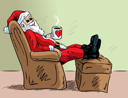 cartoon santa: Relaxing Santa