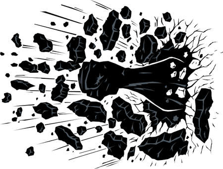 punched through: Fist through wall Illustration