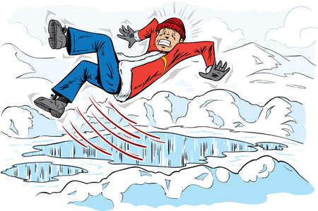 snow fall: Slipping guy Illustration
