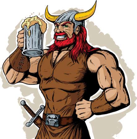 Drinking Viking  イラスト・ベクター素材
