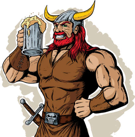ale: Drinking Viking Illustration