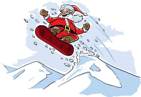 Snowboarding Santa Stock fotó - 16767523