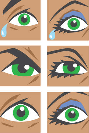 angry look: Eye icons  Illustration