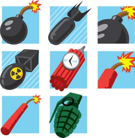 Bomb Pictogrammen Stock Illustratie