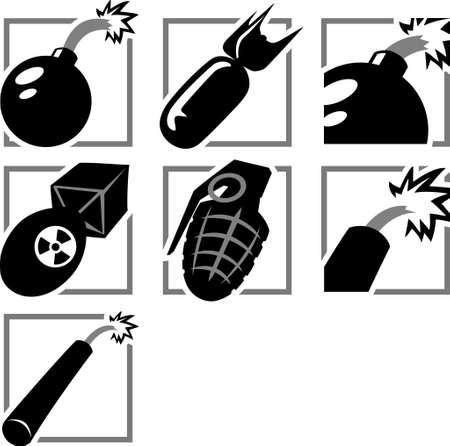 bombing: Bomb Pictogrammen Stock Illustratie