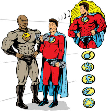 heroism: Super hero training to be the hero he wants to be by a super trainer. With vector, all heroes are on separate layers.