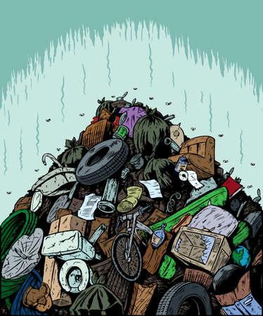 Śmieciarka: Wysypisko śmieci Ilustracja