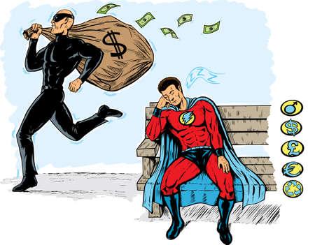 geld: Slapen Hero Stock Illustratie