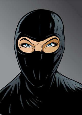 강렬한 여자 닌자, 도둑 또는 특수 부대.