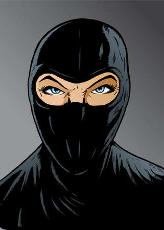 burglars: Intense Ninja girl, thief or special forces. Illustration