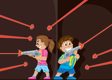Laser Tag kids  Illustration