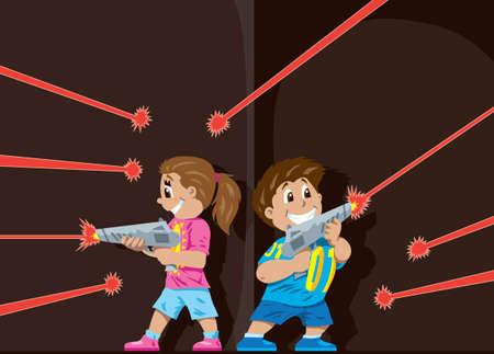girl with gun: Laser Tag kids  Illustration