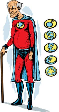 grumpy: Oude superheld Stock Illustratie