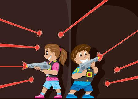 レーザー タグ子供と  イラスト・ベクター素材