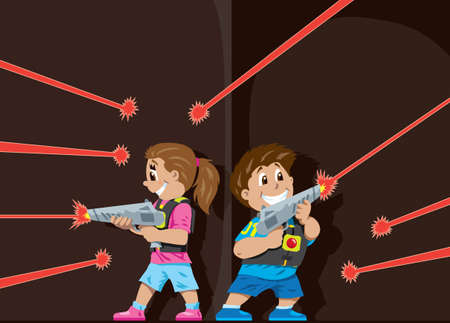 Laser Tag kids Vector