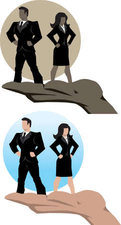 Business man and woman supported by a hand  Illustration